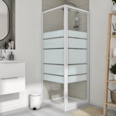 Box doccia angolare con porta a battente e lato fisso rettangolare Essential 90 x 80 cm, H 185 cm in vetro temprato, spessore 4 mm serigrafato bianco