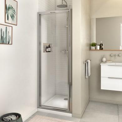 Porta doccia battente Essential 70 cm, H 185 cm in vetro, spessore 4 mm trasparente cromato