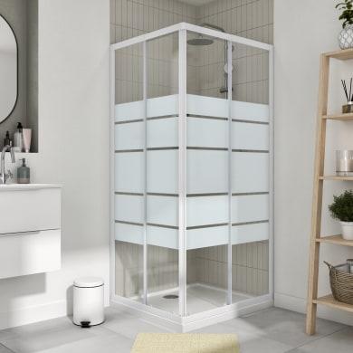Box doccia rettangolare scorrevole Essential 80 x 90 cm, H 185 cm in vetro temprato, spessore 4 mm serigrafato bianco