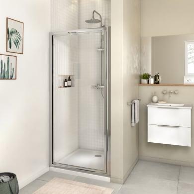 Box doccia angolare con porta a battente e lato fisso rettangolare Essential 80 x 70 cm, H 185 cm in vetro temprato, spessore 4 mm trasparente cromato