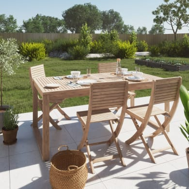Set tavolo e sedie NATERIAL Solis marrone 4 posti