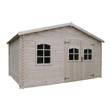 Casetta da giardino in legno Varna,  superficie interna 10.25 m² e spessore parete 28 mm