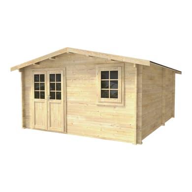 Casetta da giardino in legno Patty,  superficie interna 17.95 m² e spessore parete 45 mm