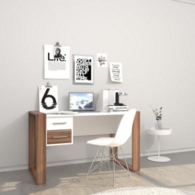 Scrivania Farley L 110 x H 75 x P 60 cm bianco e effetto rovere naturale