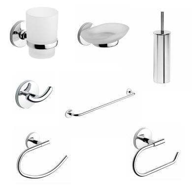 Set accessori di fissaggio grigio / argento cromato in acciaio