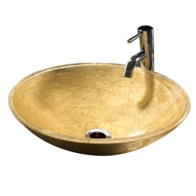 Lavabo da appoggio rotondo Camille Gold in resina Ø 39 x H 13 cm oro