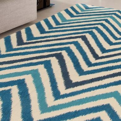 Tappeto Ikat Mare in cotone, blu, 170x240