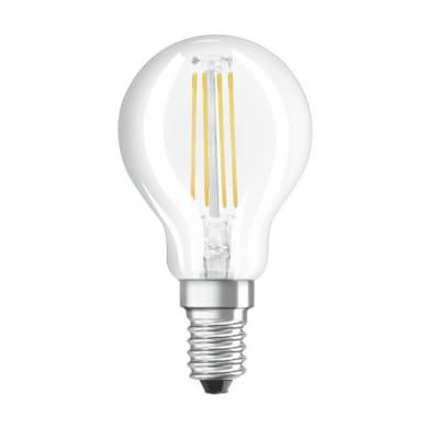 Lampadina LED filamento, E14, Sferico, Trasparente, Luce calda, 4W=470LM (equiv 40 W), 300° , OSRAM
