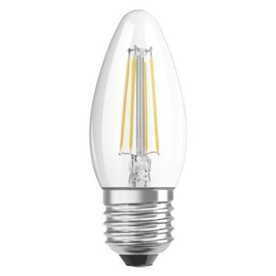 Lampadina LED filamento, E27, Oliva, Trasparente, Luce calda, 4W=470LM (equiv 40 W), 300° , OSRAM