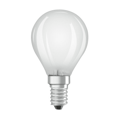 Lampadina LED filamento, E14, Sferico, Opaco, Luce calda, 4W=470LM (equiv 40 W), 300° , OSRAM