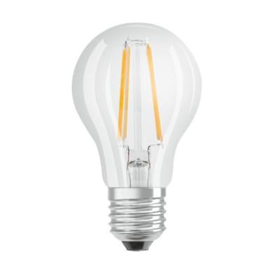 Lampadina LED filamento, E27, Goccia, Trasparente, Luce calda, 4W=470LM (equiv 40 W), 300° , OSRAM