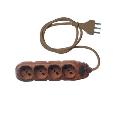 Multipresa con cavo e con protezione ELECTRALINE 62077 ciliegio 4 prese