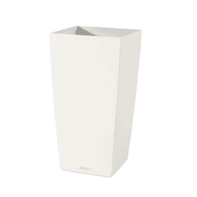 Vaso Cubico Color LECHUZA in plastica bianco H 56 , L 30 X P 30 cm