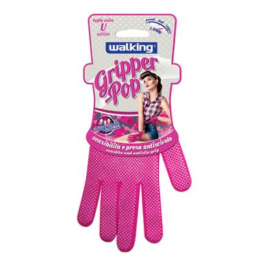Guanti in maglina elastica WALKING Guanto Gripper Pop Pink Taglia unica fucsia, 2 pezzi