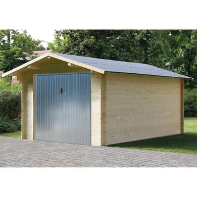 Garage in legno Garage Menta con Basculante 13.94 m², Sp 28 mm