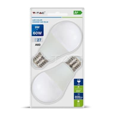 Set di 2  lampadine LED, E27, Goccia, Opaco, RGB, 9W=806LM (equiv 60 W), 200°