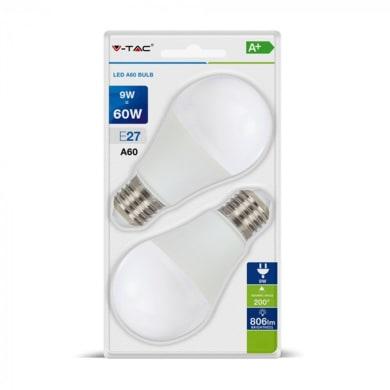Set di 2  lampadine LED, E27, Goccia, Opaco, Luce naturale, 9W=806LM (equiv 60 W), 200°