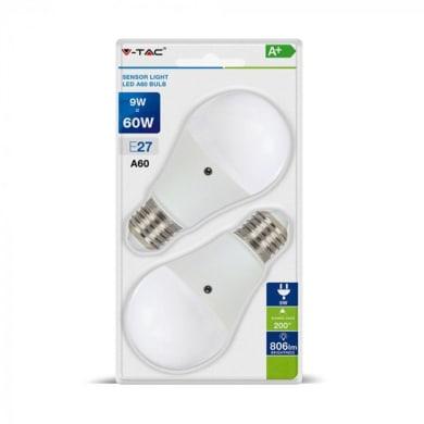 Set di 2  lampadine LED, E27, Goccia, Opaco, Luce calda, 9W=806LM (equiv 60 W), 200°