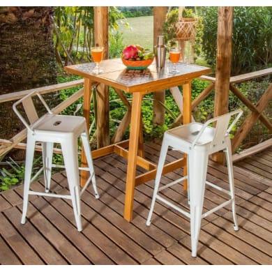Set tavolo e sedie Soho Ceramica in acacia multicolore 2 posti