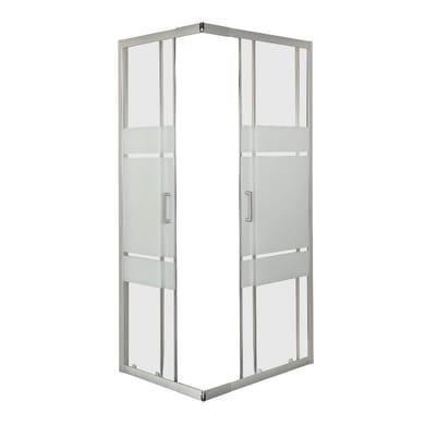 Box doccia rettangolare 2 ante fisse + 2 ante scorrevoli Sinque 70 x 80 cm, H 190 cm in vetro temprato, spessore 3 mm serigrafato argento
