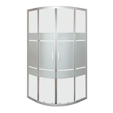 Box doccia semicircolare 2 ante fisse + 2 ante scorrevoli Sinque 90 x 90 cm, H 190 cm in vetro temprato, spessore 5 mm serigrafato argento