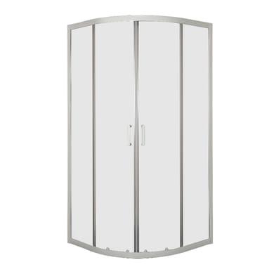 Box doccia semicircolare 2 ante fisse + 2 ante scorrevoli Sinque 80 x 80 cm, H 190 cm in vetro temprato, spessore 5 mm trasparente bianco