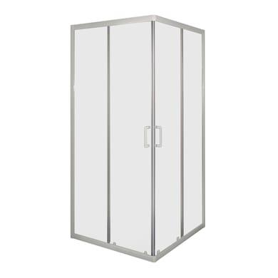 Box doccia quadrato 2 ante fisse + 2 ante scorrevoli Sinque 70 x 70 cm, H 190 cm in vetro temprato, spessore 5 mm trasparente bianco