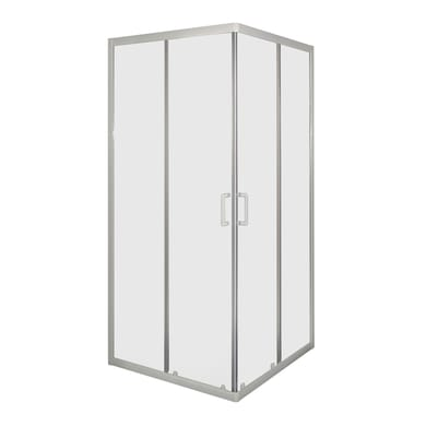 Box doccia quadrato 2 ante fisse + 2 ante scorrevoli Sinque 80 x 80 cm, H 190 cm in vetro temprato, spessore 5 mm trasparente bianco