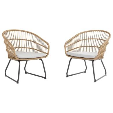 Sedia da giardino con cuscino 2 posti in acciaio Timea NATERIAL colore marrone