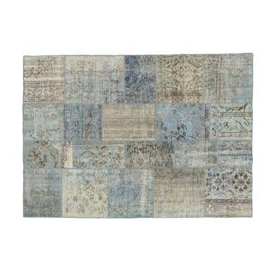 Tappeto Anatolian patchwork in lana, azzurro, 60x200 cm