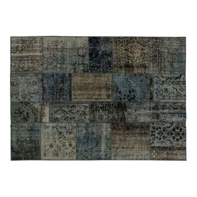 Tappeto Anatolian patchwork in lana, grigio, 60x200 cm