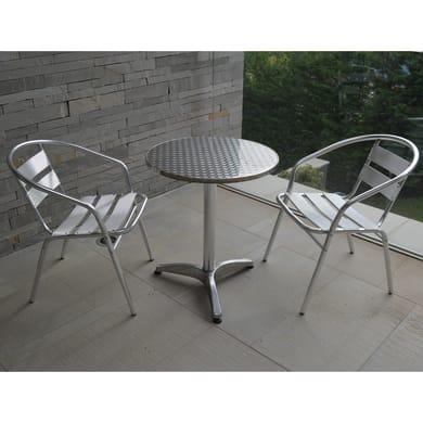 Set tavolo e sedie Bistrot in alluminio grigio / argento 2 posti
