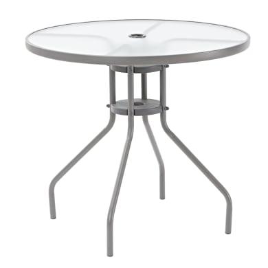 Tavolo da giardino rotondo Elia con piano in vetro Ø 80 cm