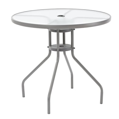 Tavolo da giardino rotondo Elia con piano in vetro Ø 80.0 cm