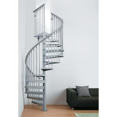 Scala a chiocciola tonda Steel FONTANOT L 160 cm, gradino grigio, struttura cromo