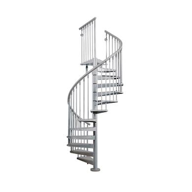 Scala a chiocciola tonda Steel FONTANOT L 140 cm, gradino grigio, struttura cromo