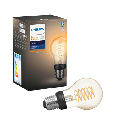 Lampadina smart lighting LED, HUE FILAMENT BLUETOOTH, E27, Goccia, Ambra, Luce calda, 7W=550LM (equiv 40 W), 150° , PHILIPS HUE