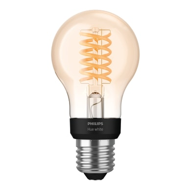 Lampadina smart lighting LED, E27, Goccia, Ambra, Luce calda, 7W=550LM (equiv 40 W), 150° , PHILIPS HUE