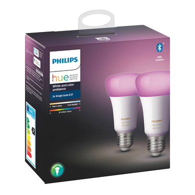 Set di 2  lampadine LED, HUE COLOR BLUETOOTH, E27, Goccia, Opaco, RGB, 9W=806LM (equiv 60 W), 150° , PHILIPS HUE