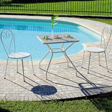 Set tavolo e sedie Bardolino in metallo bianco 2 posti