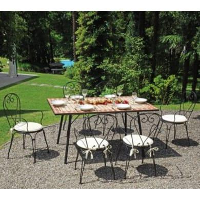 Set tavolo e sedie Mosaico in metallo nero 6 posti