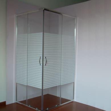 Box doccia quadrato 2 ante fisse + 2 ante scorrevoli AURORA 80 x 80 cm, H 190 cm in vetro temprato, spessore 4 mm serigrafato cromato