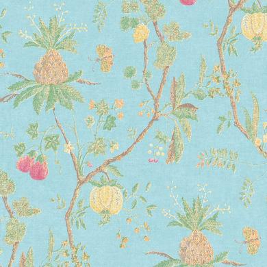 Carta da parati Ananas e melograno blu