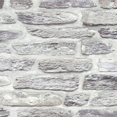 Carta da parati Muro sasso grigio, 53 cm x 10 m