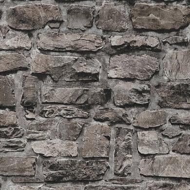 Carta da parati Muro rustico nero, 53 cm x 10 m