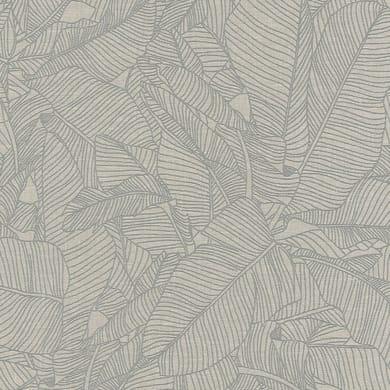 Carta da parati Foglia style grigio beige