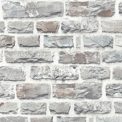 Carta da parati Mattoni roccia grigio