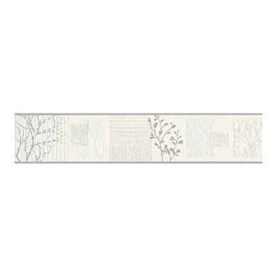Bordo ADESIVO MT.5 RAMI GRIGIO GLITTER H.CM.13 grigio / argento 13 cm x 5 m