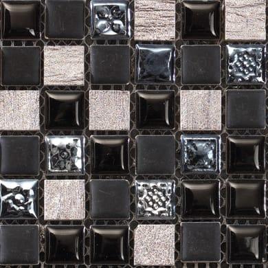 Mosaico Campione Freedom Black H 15 x L 15 cm nero/argento