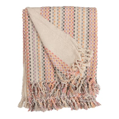 Plaid in 100% cotone Isha, beige, 120x 160 cm